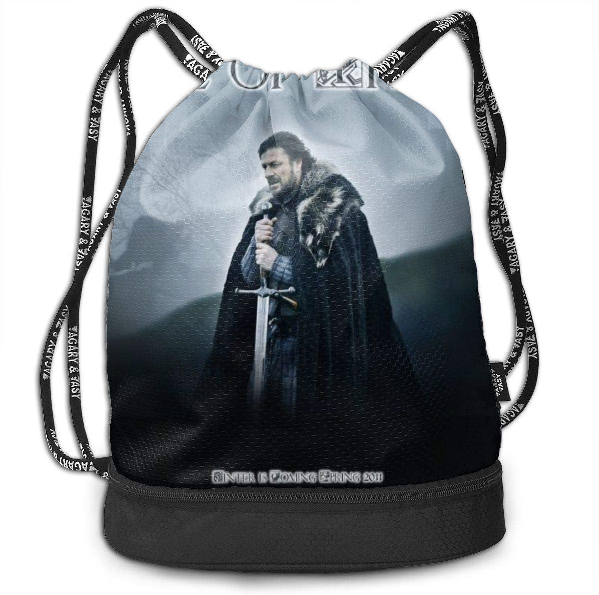 Game Of Thron-es Drawstring Backpack Athletic Gym Bag Sport Sackpack,Hiking Travel Bag
