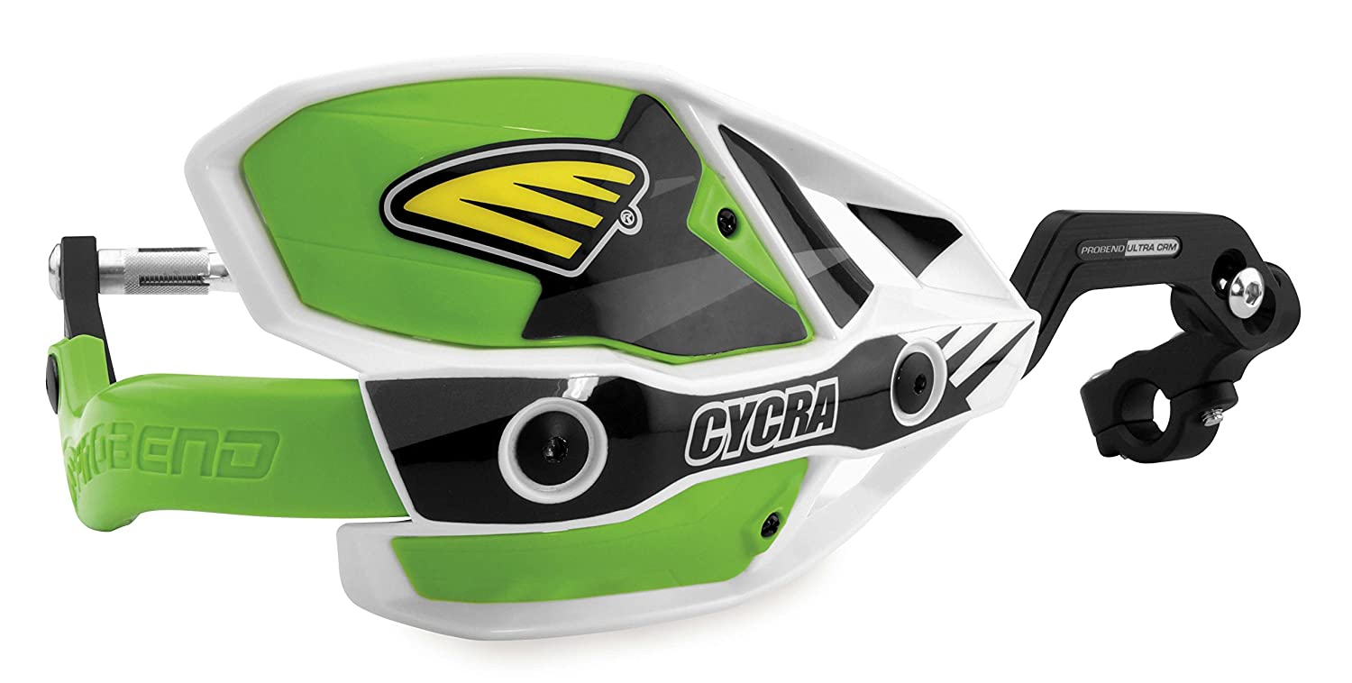 7//8in Cycra 1CYC-7407-72X Ultra ProBend CRM Handguards White//Green//Green Clamp