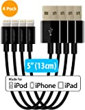 """Short iPhone Charger Lightning Cable Charging Cord MFI by HomeSpot 5"""" Short Length Certified for iPhone X / 8 / 8 Plus / 7 / 7 Plus / 6 / 6 Plus / 5S iPad Air / Air 2 / Pro (4 Pack - Black)"""