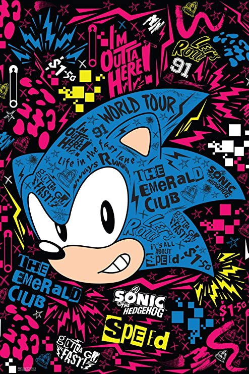 Amazon Com Pyramid America Sonic The Hedgehog Emerald Club World Tour Sega Video Game Gaming Cool Wall Decor Art Print Poster 12x18 Posters Prints