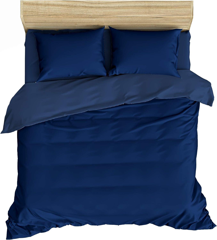 100/% Coton Lemur Bleu Sets de Housse de Couette 200x200 cm 2 taies doreiller 65x65 cm