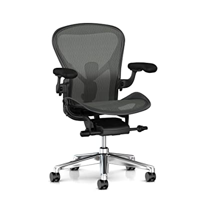 Herman Miller Aeron Task Chair: Tilt Limiter/Seat Angle - PostureFit SL -  Fully Adj Arm + Armpad Depth - Black Vinyl Armpad - Carpet Caster