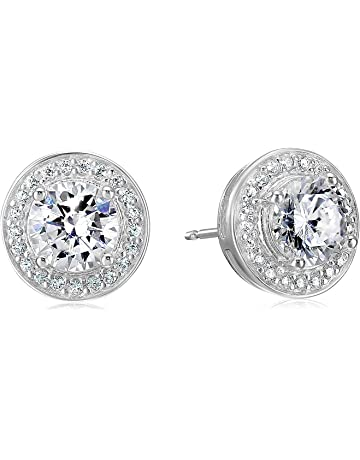 4eb5cd7c8 Amazon Essentials Plated Sterling Silver Cubic Zirconia Halo Stud Earrings