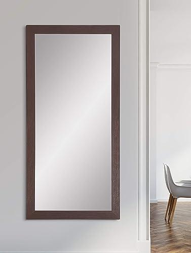 BrandtWorks AZBM081TS Framed Non Beveled Mirror, 32 x 66, Dark Brown