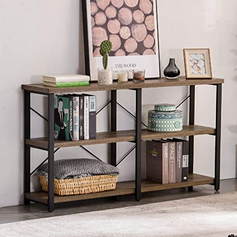 Marvelous Grelo Home Rustic Entryway Table Tv Console Table With Storage Shelf Metal And Wood Entry Table Industrial Sofa Table For Living Room Oak 55 Inch Dailytribune Chair Design For Home Dailytribuneorg