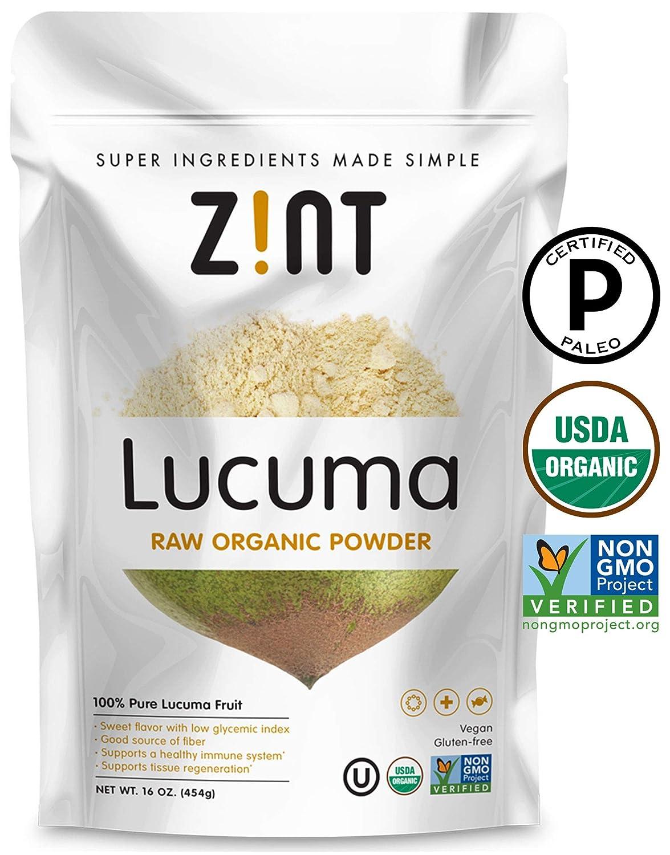 Raw Lucuma Powder by Zint: Organic, Non GMO, Lucuma Fruit Superfood - Fiber, Calcium Vitamin B1, B2, C - Sweet Creamy Flavor for Amazing Smoothies (16 oz)