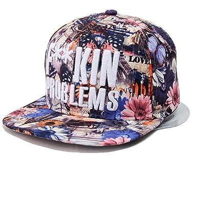 Kenmont Moda Hip-Hop Floreale Cappelli da baseball per ragazze Donne (Blu) b770e3942bee