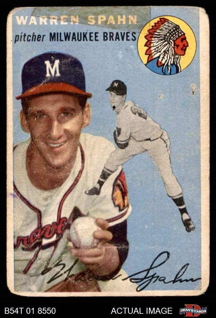 1954 Topps # 20 WHT Warren Spahn Milwaukee Braves (Baseball Card) (White Back) Dean's Cards 1.5 - FAIR Braves