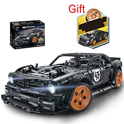 WOLFBSUH Race Car 1965 Ford Mustang Hoonicorn Building Set STEM Toy, 3145Pcs 1:8 Building Blocks and Engineering Toy Sports Car Model: Toys & Games