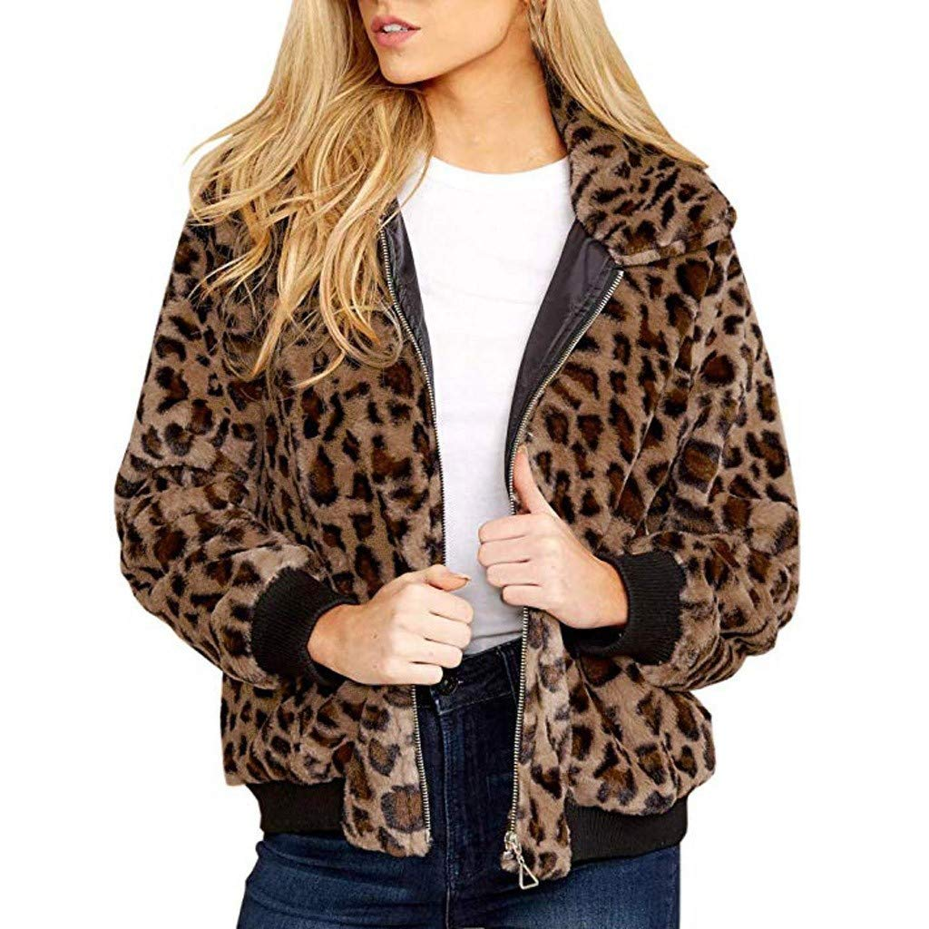 Women Full Zip Jacket Soft Fleece Long Sleeves Leopard Coat Casual Outwear Sherpa Sweatshirt with Pocket (M, Brown) by Dasuy