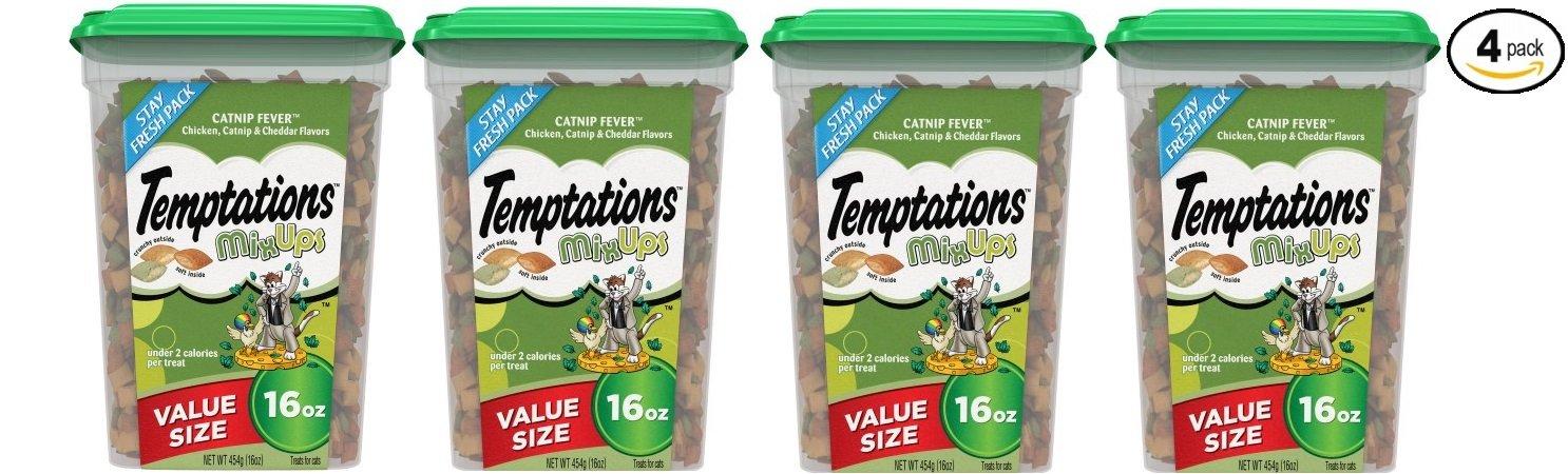 Temptations Mixups Catnip Fever Flavor Cat Treats, 16 Oz (Value size) - Pack of 4