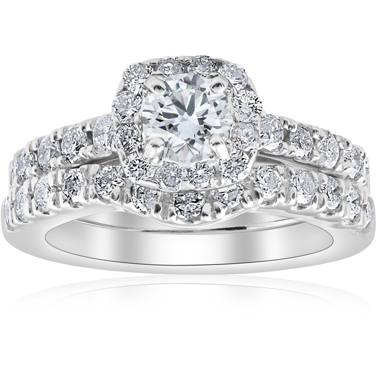 1 1/4ct Cushion Halo Diamond Engagement Matching Wedding Ring Set 14K White Gold