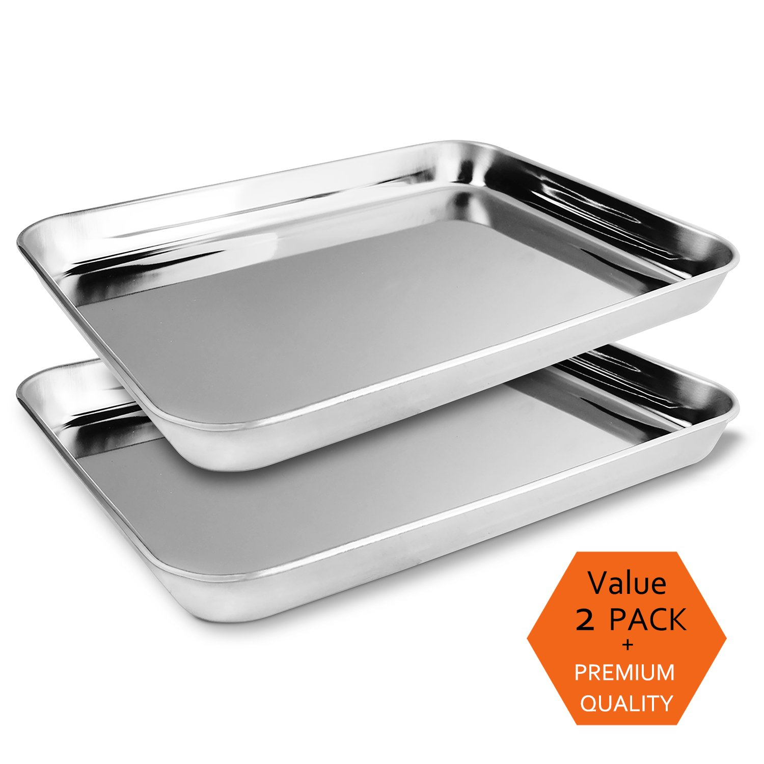 Teivio Pack of 2 Stainless Steel Compact Toaster Oven Pan Tray Ovenware Professional, 12.4''x9.6''x1'', Heavy Duty & Healthy, Deep Edge, Superior Mirror Finish, Dishwasher Safe