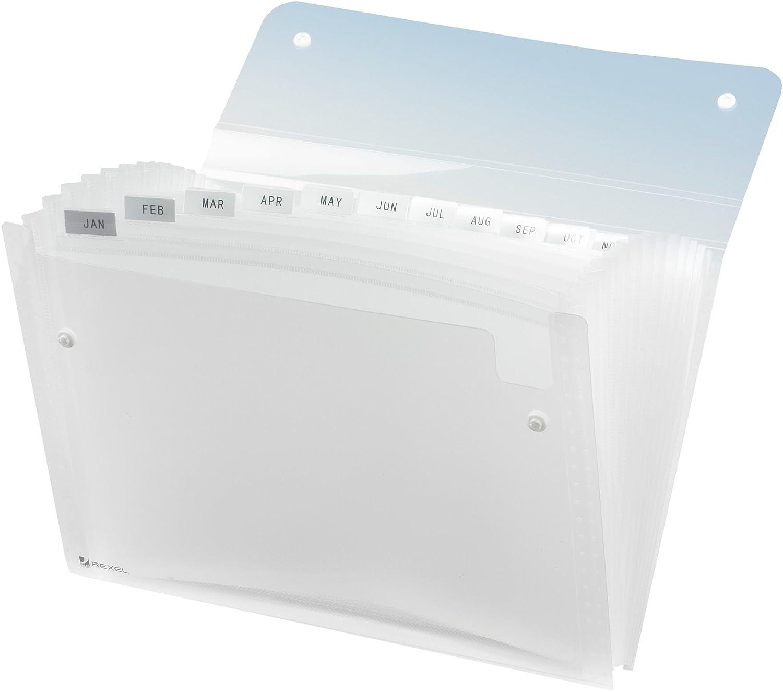 Rexel Ice - Carpeta clasificadora para documentos DIN A4 con 6 compartimentos, transparente 730417