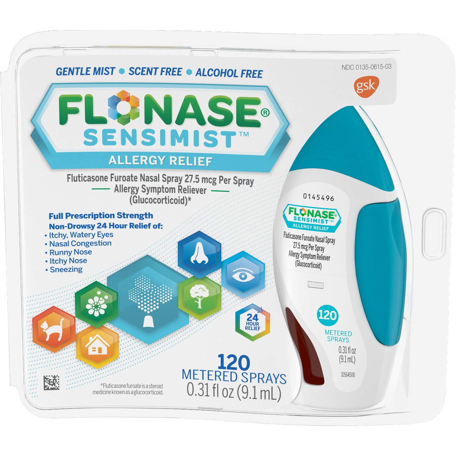 Flonase Sensimist Nasal Spray for Allergy Relief, 24-Hour Non-Drowsy Allergy Medicine, 120 Sprays by Flonase