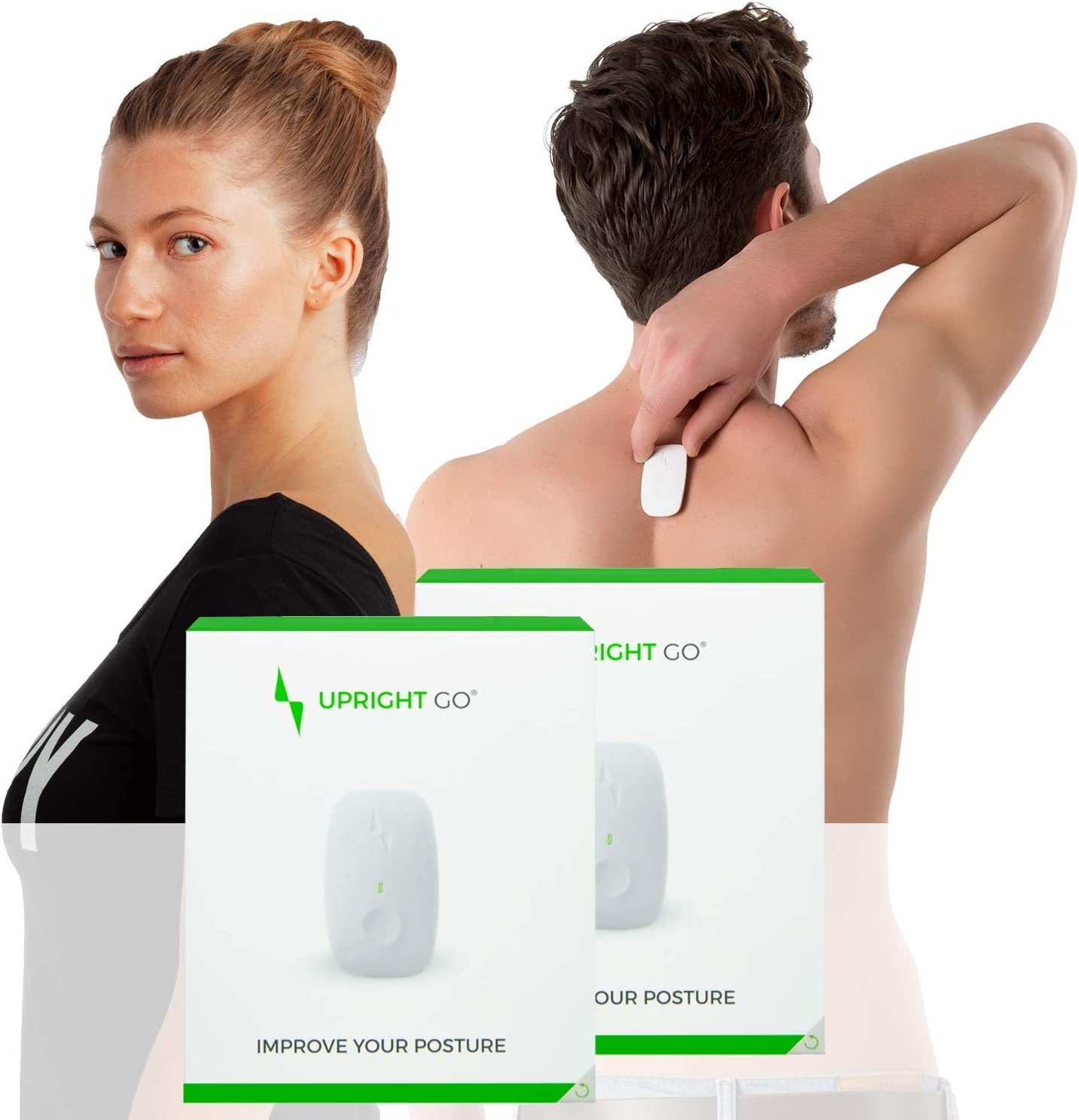 Upright GO Original Double Pack Posture Trainer and Corrector for Back Strapless, Discrete and Easy to Use Complete with App and Training Plan Back Health Benefits and Confidence Builder