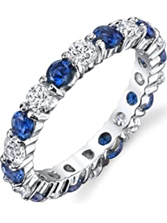 Ultimate Metals Co. ® Sterling Silver 925 Eternity Ring Engagement Wedding Band With Sapphire Blue Color Cubic Zirconia