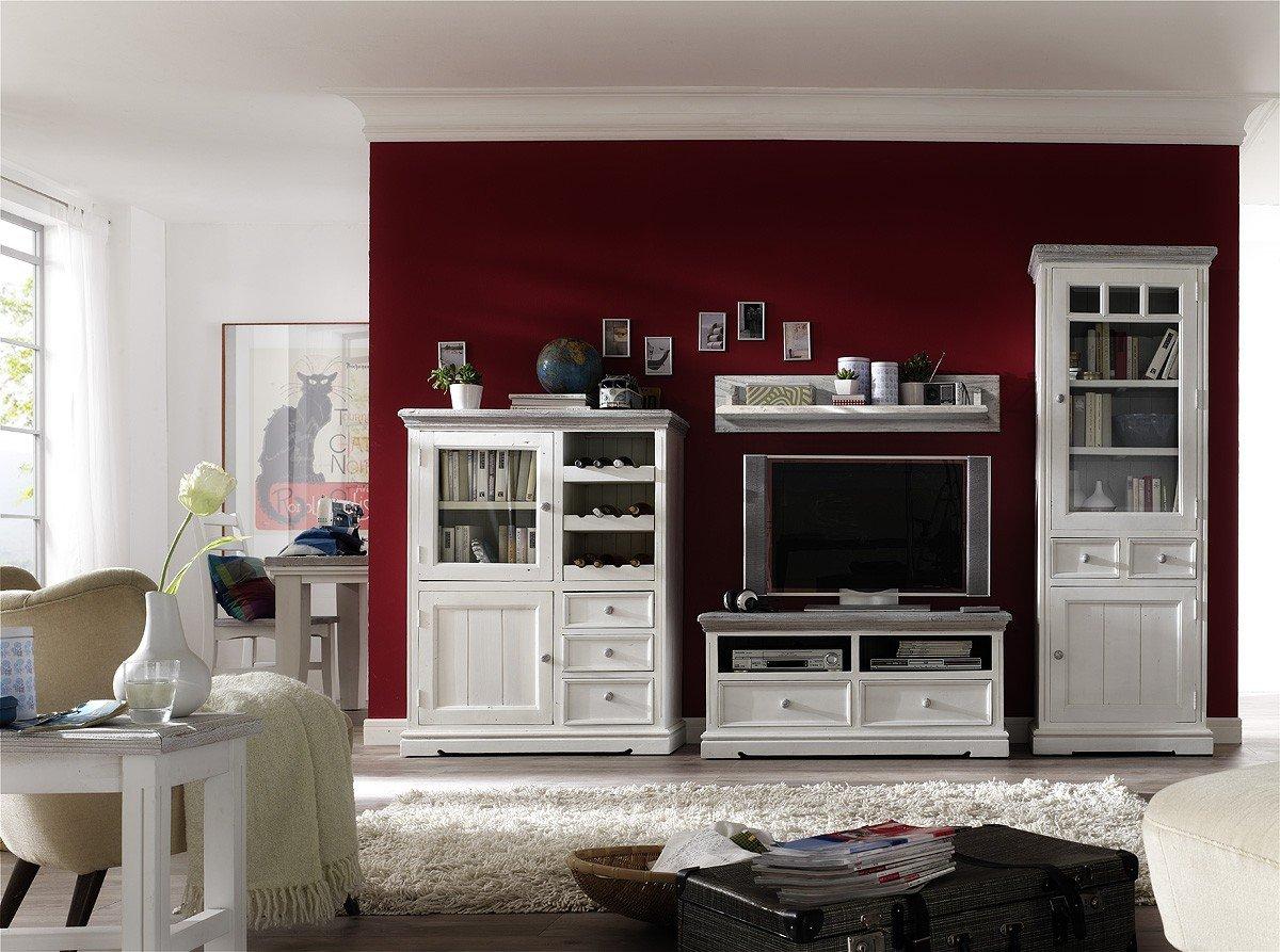 Dreams4Home Wohnwand massiv \' Juno \', in antik weiß , Wohnzimmer ...