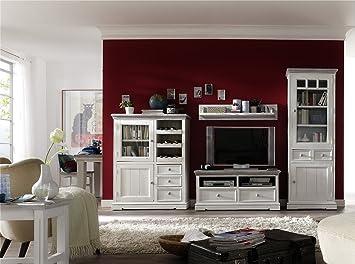 dreams4home wohnwand massiv ' juno ', in antik weiß , wohnzimmer ... - Wohnzimmer Kommode Weis