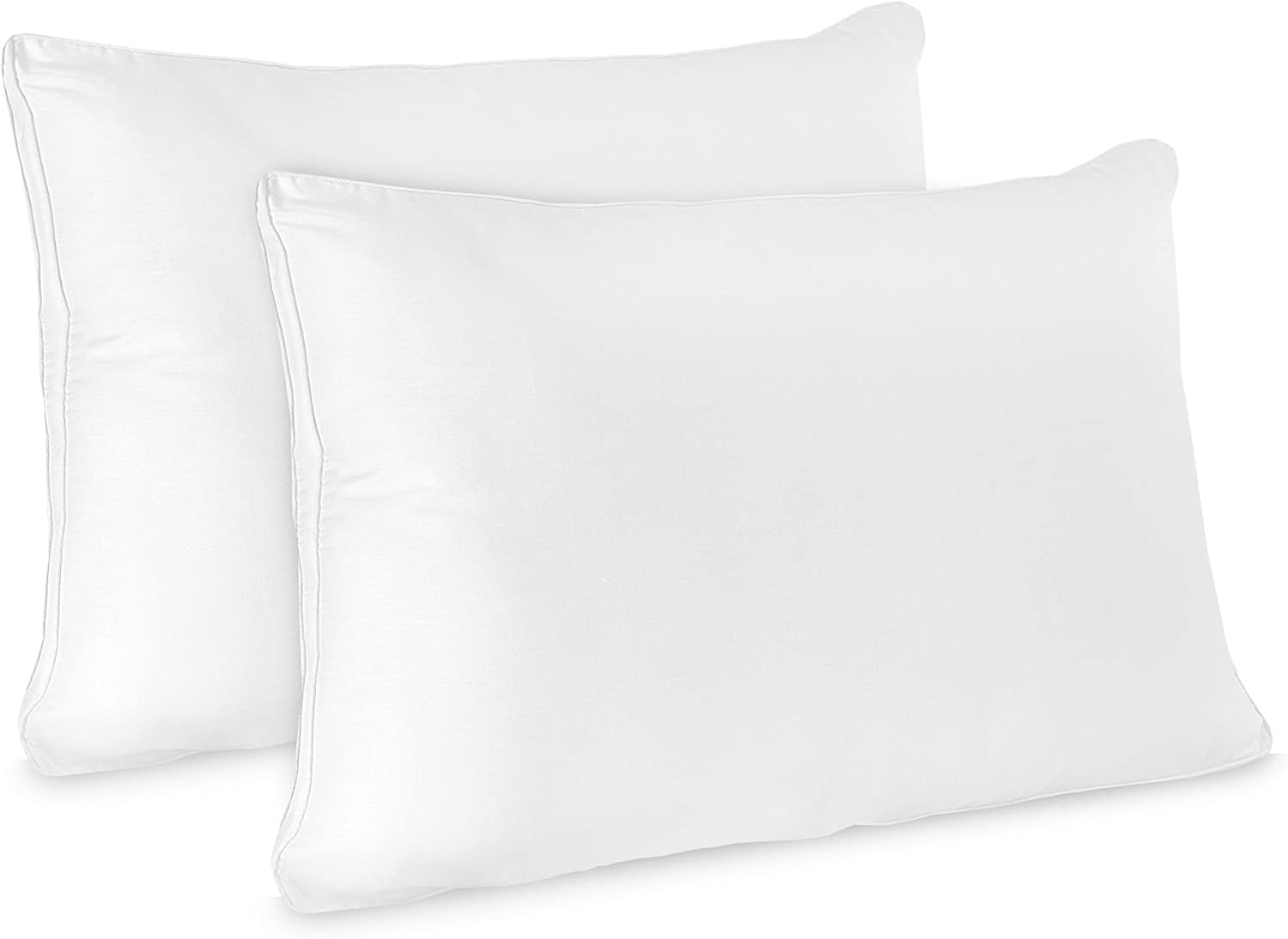 Pillow Low Profile Flat Hypoallergenic Fiber Stomach Sleeper Jumbo Set of 2