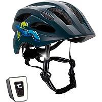 Crazy Safety Casco de bicicleta con luz para niños y jóvenes, tamaño 54-58, atractivo casco de bicicleta para niños y…