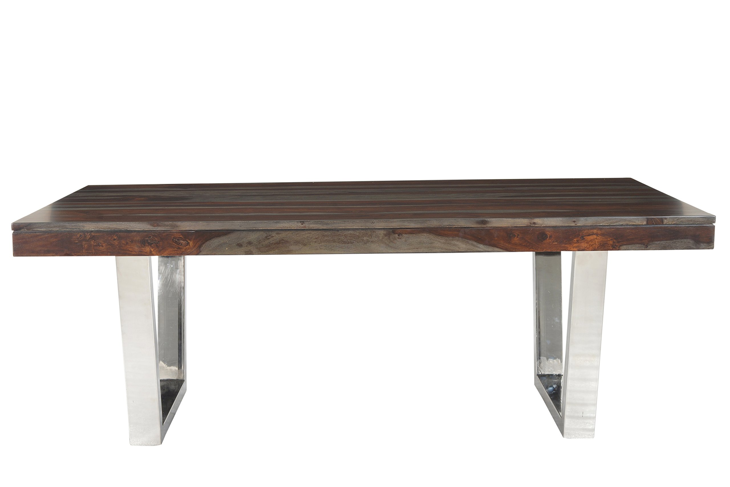 Treasure Trove Stainless Steel Base Grayson Dining Table, Grey and Red