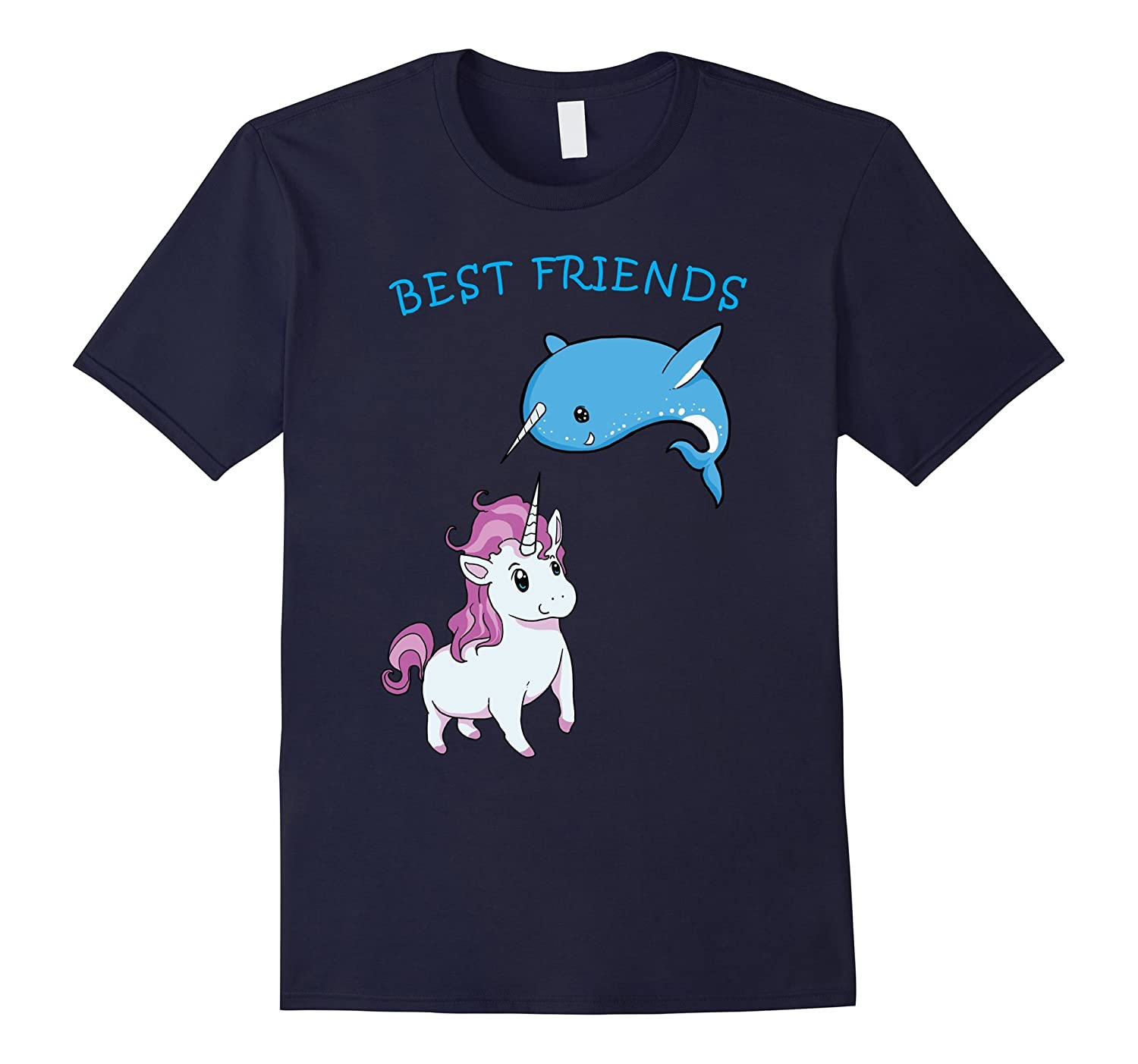 Funny Unicorn And Narwhal Buddies T-Shirt-FL