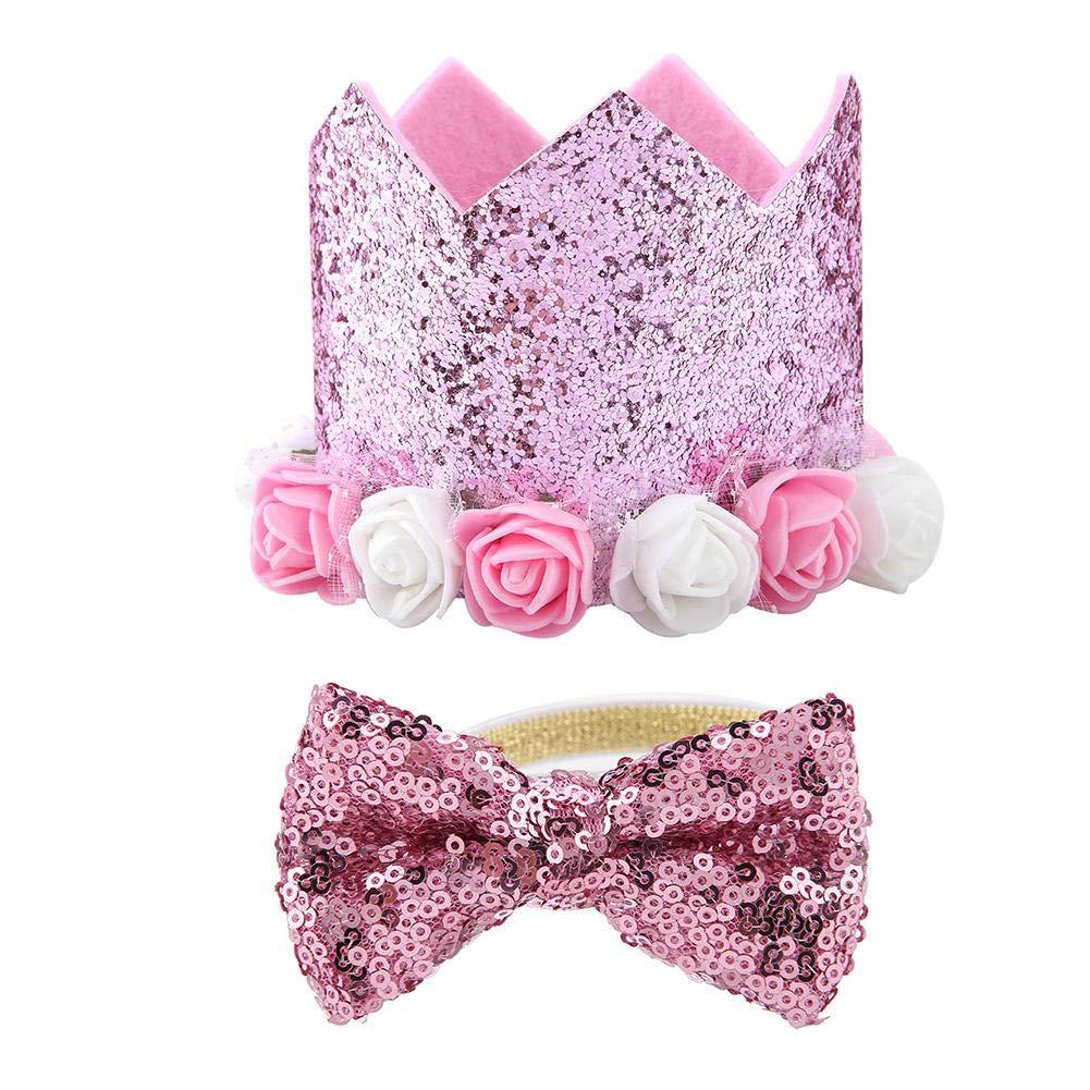 Rosa TOPINCN Pet Hat Papillon Set alla Moda Retrattile Fiore Shiny Crown Cani Gatti Pet Supplies Festa di Compleanno di Natale Festival Daily