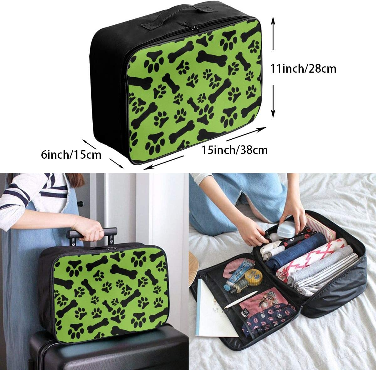 Yunshm Seamless Pattern With Black Dog Paw Prints Personalized Trolley Handbag Waterproof Unisex Large Capacity For Business Travel Storage