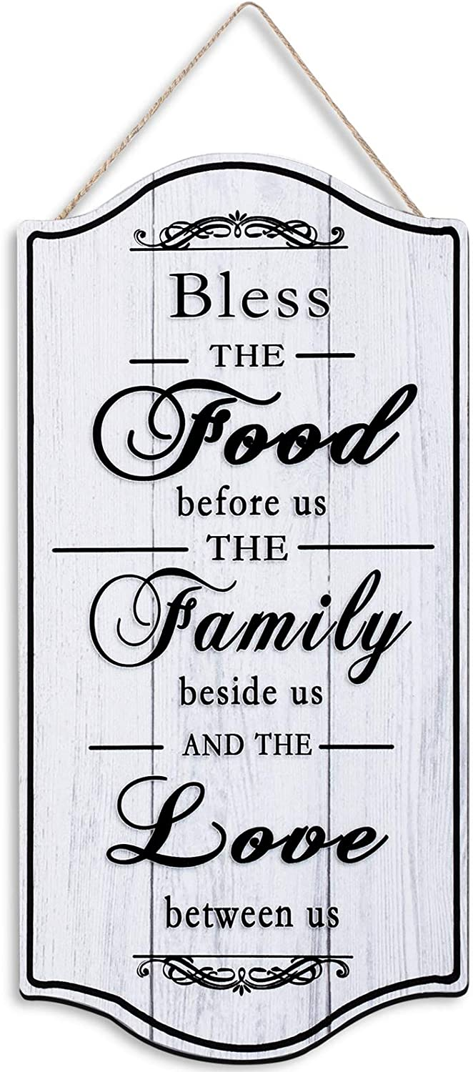 Jetec Home Sign Wall Decor Bless Our Family Food Love Sign Farmhouse Wood Sign Wall Hanging Decor Sign Decorative Sign Plaque for Country, Rustic House Wall Decor, 12 x 6 Inch
