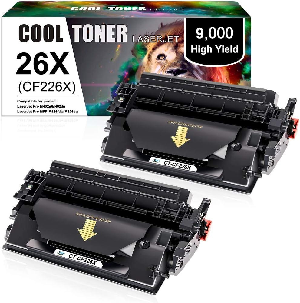 Cool Toner 26X 26A Cartuchos de tóner Compatible para CF226X CF226A para HP Laserjet Pro M402dn M402n M402d M402dw, MFP M426dw M426fdw M426fdn