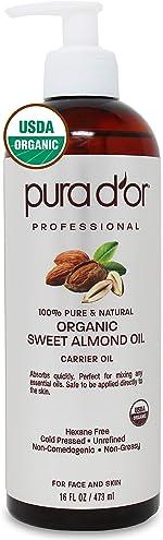 PURA D'OR Organic Sweet Almond Oil (16oz) Certified Organic 100% Pure