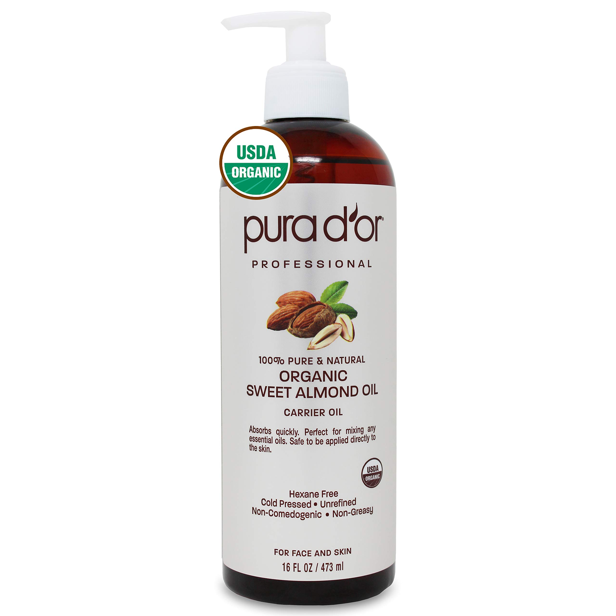 PURA D'OR Organic Sweet Almond Oil (16oz) Certified Organic 100% Pure & Natural Hexane Free Soothing Vitamin E Oil for Skin & Face, Facial Polish, Full Body, Massages, DIY Base (Packaging may vary)