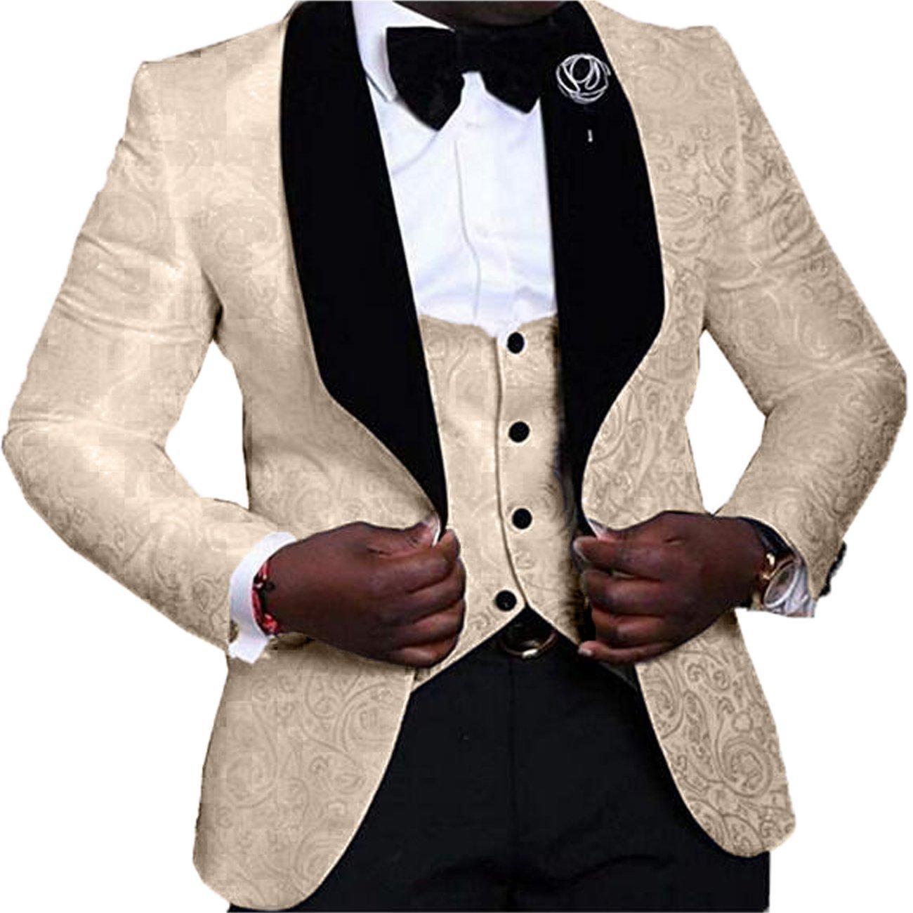 YSMO Men's Jacquard 3-Piece Suit Slim One Button Tuxedo Blazer Jacket Pants Vest Set