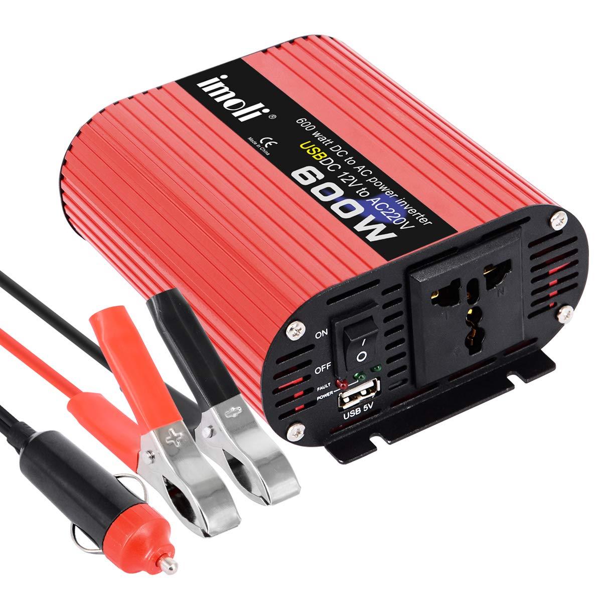 Inversor de Corriente de 600W imoli Convertidor de Voltaje del Coche Potencia Pico 1200W Doble Salida de CA y Puerto de Carga USB Tamaño portátil ...