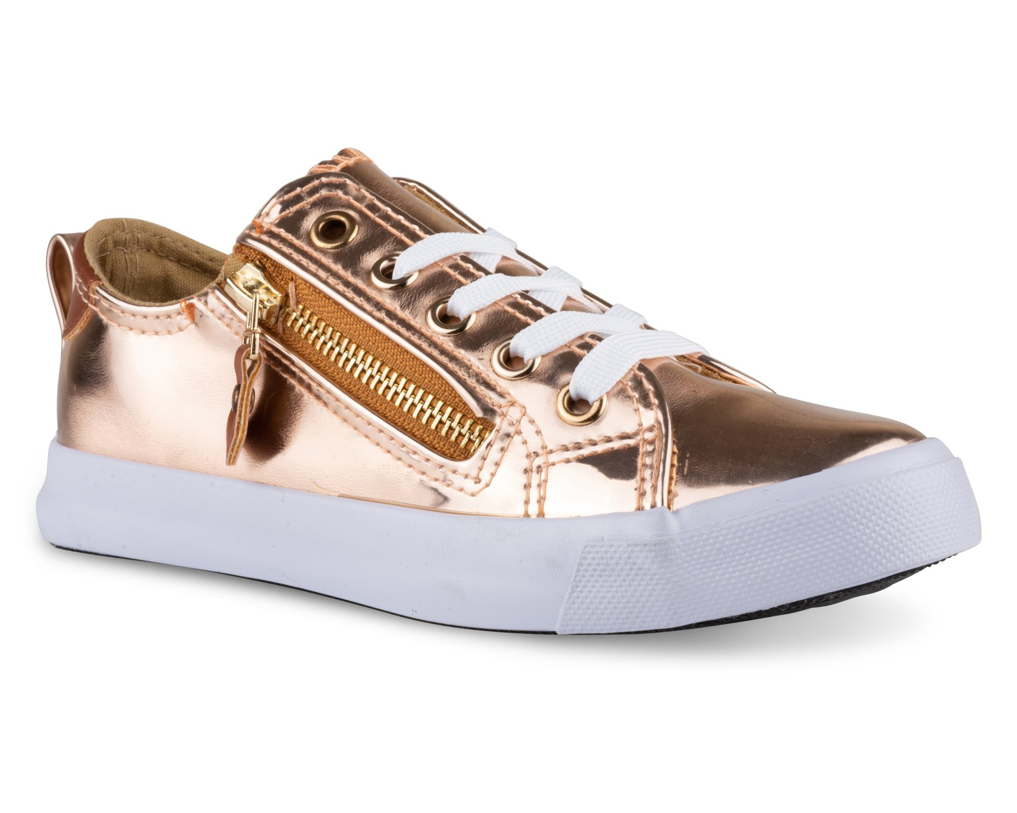 Twisted Girl's Faux Leather and Metallic Sneaker - KIXLO213KROSE Gold, Size 13