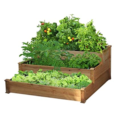 yaheetech 3 tier wooden elevated raised garden bed planter box kit natural cedar wood - Garden Bed