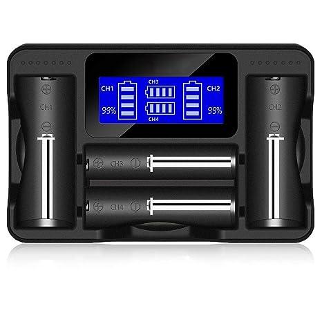 Yangers 18650 Cargador de batería con Pantalla LCD Carga ...