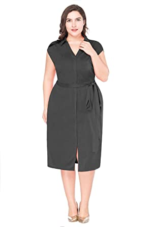 MF Women\'s Plus Size Elegant V Neck Collar Sleeveless Belted Business  Formal Party Wrap Dress