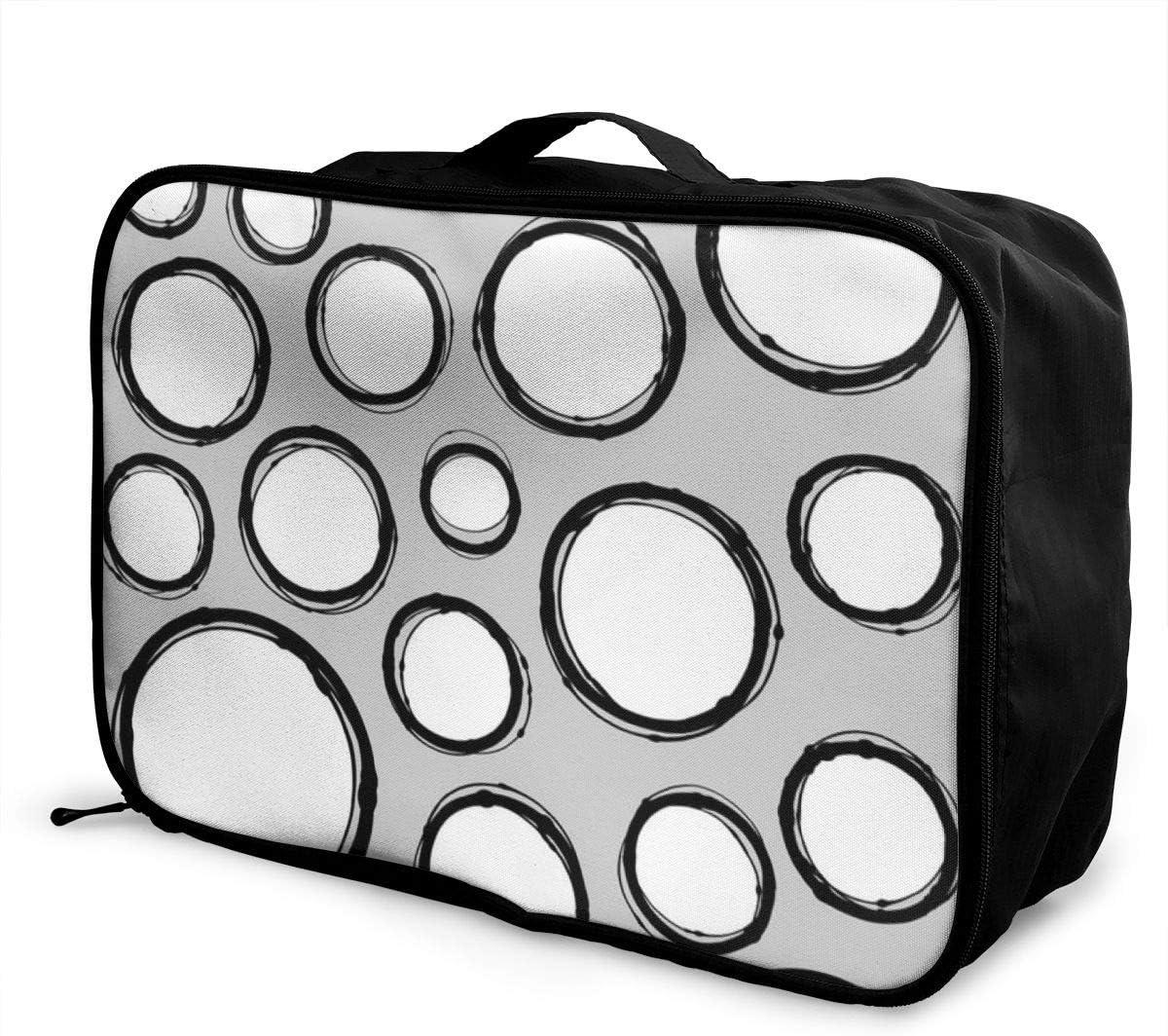 Yunshm Hand Drawn Line Circle Shape Pattern Customized Trolley Handbag Waterproof Unisex Large Capacity For Business Travel Storage