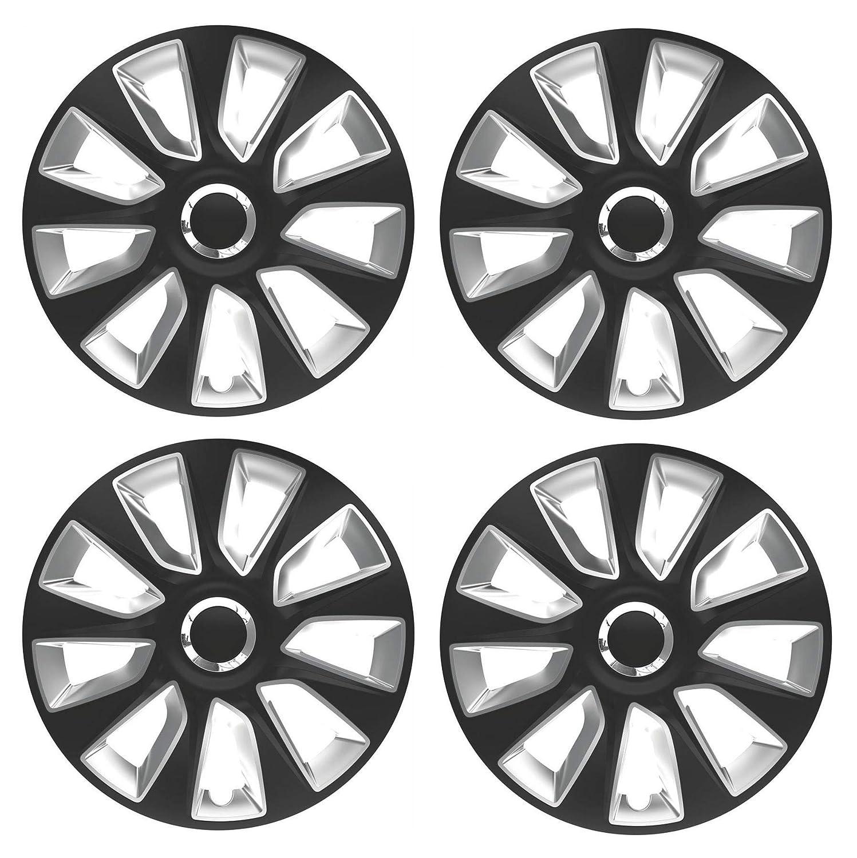UKB4C 15' Alloy Look Black & Silver Stripe Multi-Spoke Wheel Trims Hub Caps Covers Protectors