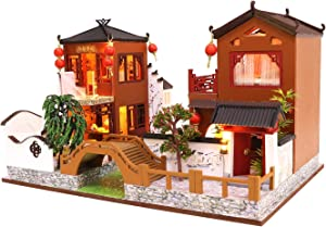 Cool Beans Boutique Miniature DIY Dollhouse Kit Wooden Chinese Villa River Walk with Dust Cover - Architecture Model kit (English Manual) (Chinese Villa)