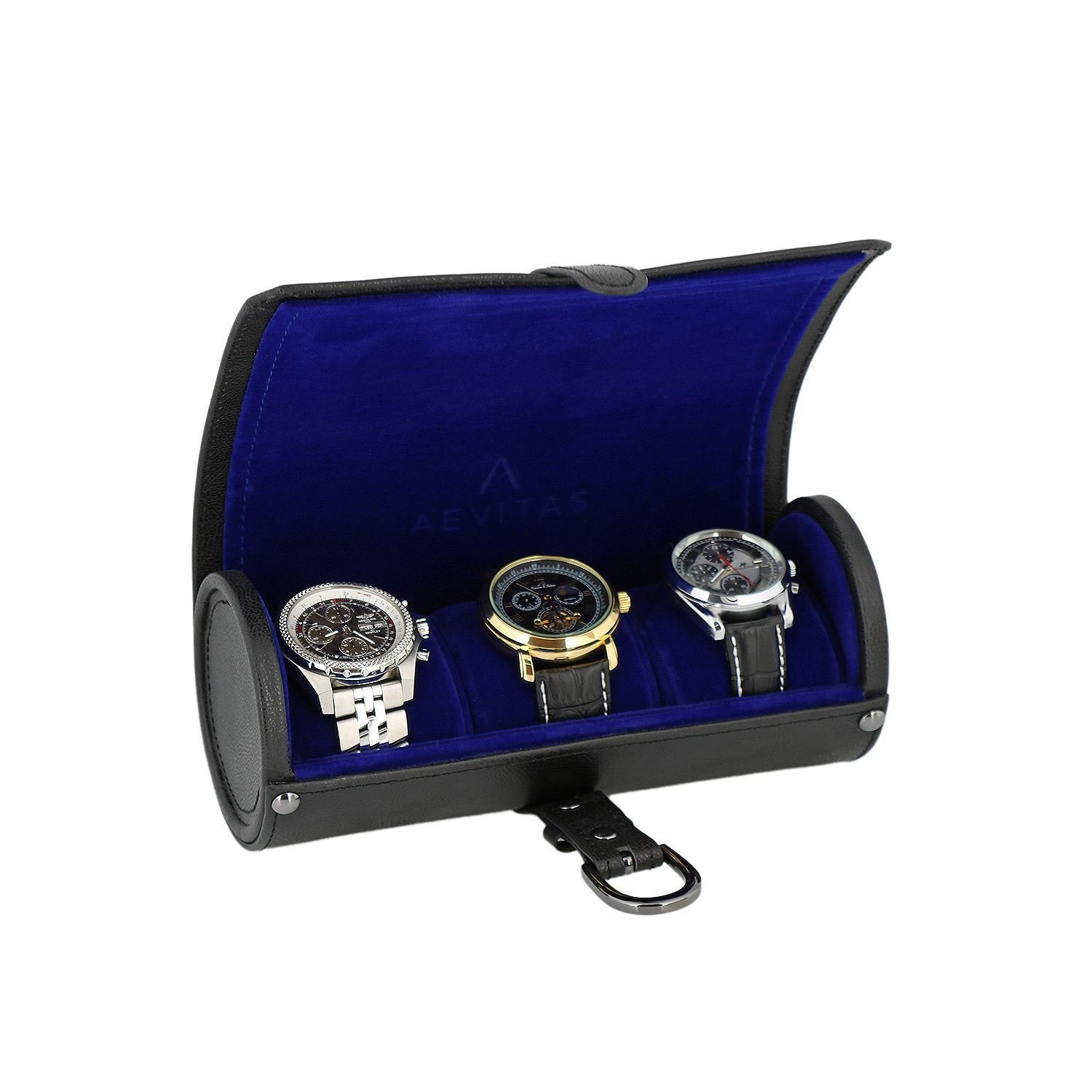 Genuine Black Leather Watch Travel Roll 3 Watches Purple Velvet Lining by Aevitas