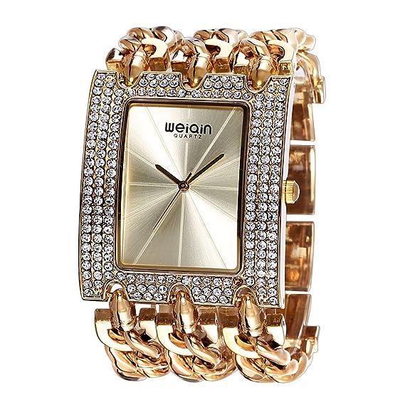 JIANGYUYAN Womens Unique Fashion Classic Casual reloj de lujo negocio vestido relojes lujo joyas pulsera brazalete