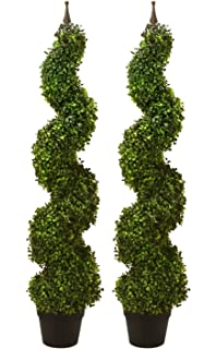 Outdoor Topiary Trees With Lights Amazon pre potted 60 artificial outdoor indoor spiral boxwood two pre potted 47 artificial outdoor indoor spiral boxwood artificial topiary trees in workwithnaturefo