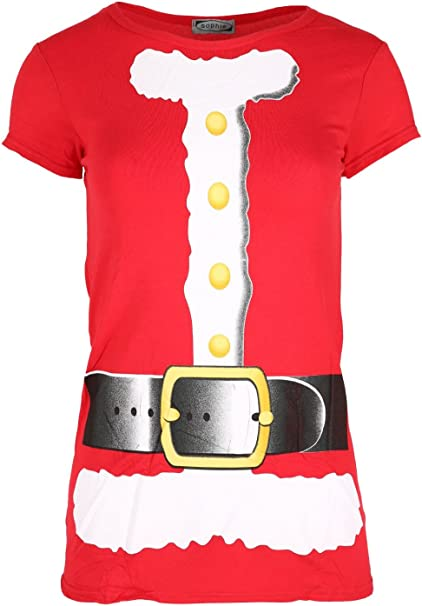 Women Ladies Santa Claus Beard Belted Costume Printed T Shirt Christmas Xmas Top