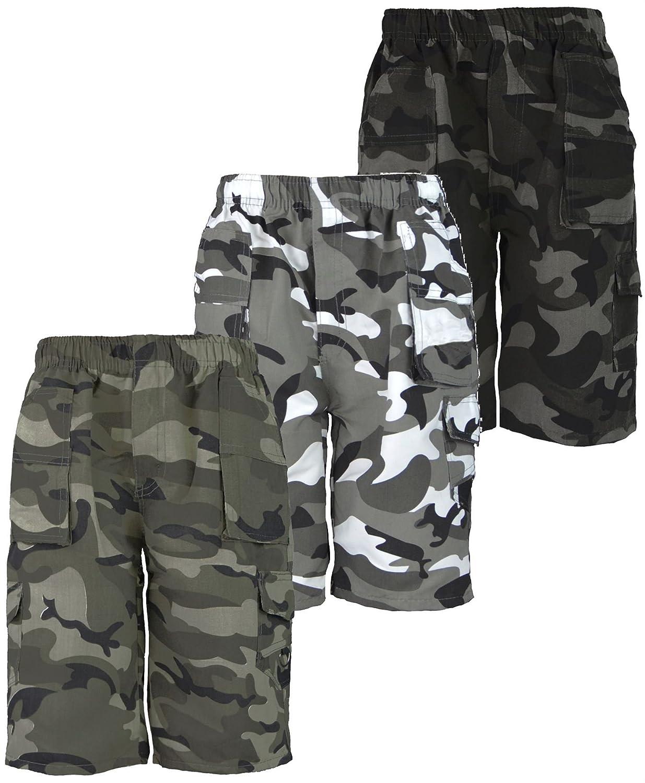 LotMart bambini CAMOUFLAGE MULTITASCHE shorts Set Confezione di 3 colori