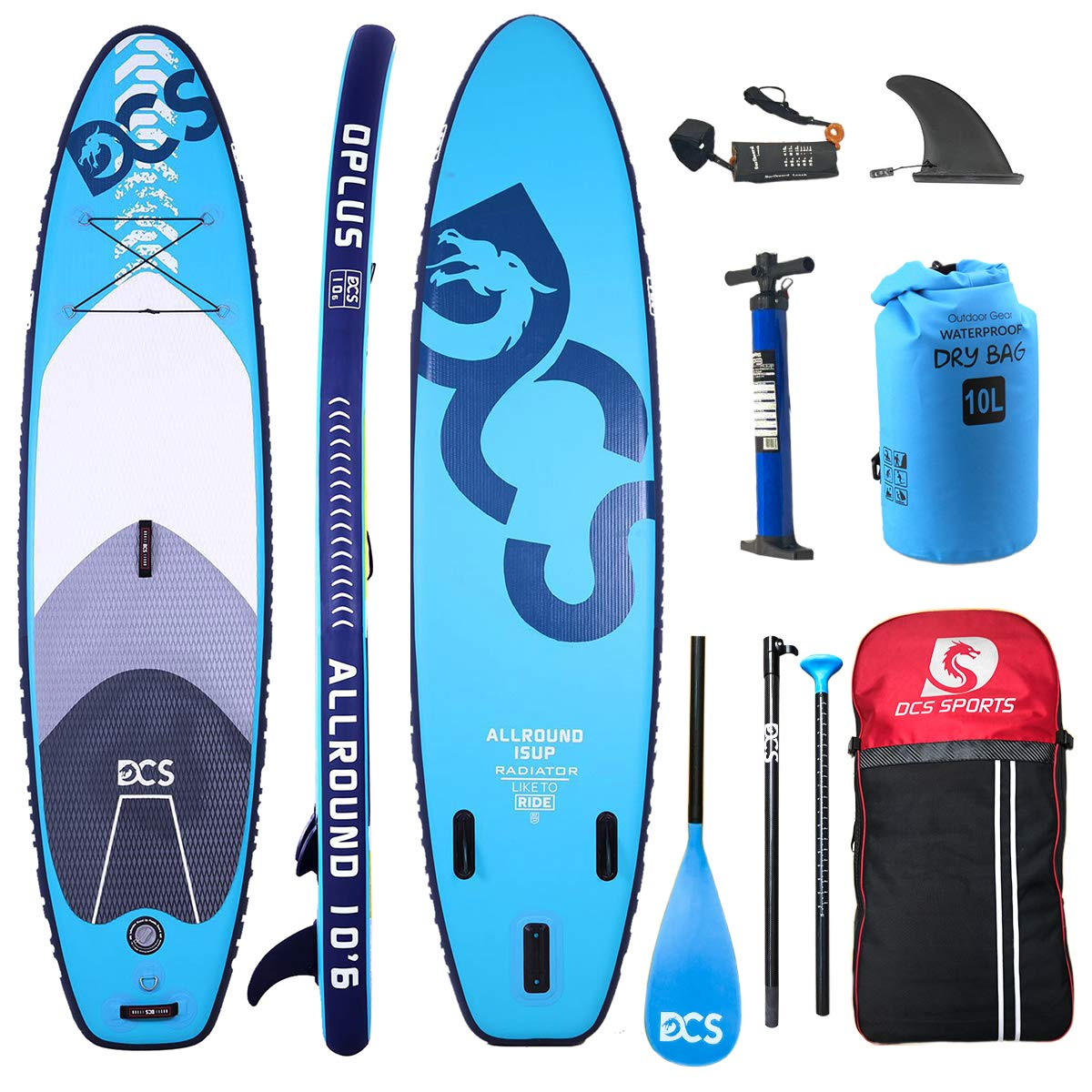 DCS Inflatable SUP Paddle Board Inflatable Stand Up Paddle Board with 100% Full Carbon Fiber Adjustable Paddle , Double Action ...