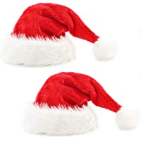 2pcs Santa Hat Velvet Christmas Hat for Unisex Adult with Plush Brim and Comfort Liner for Christmas New Year Party…