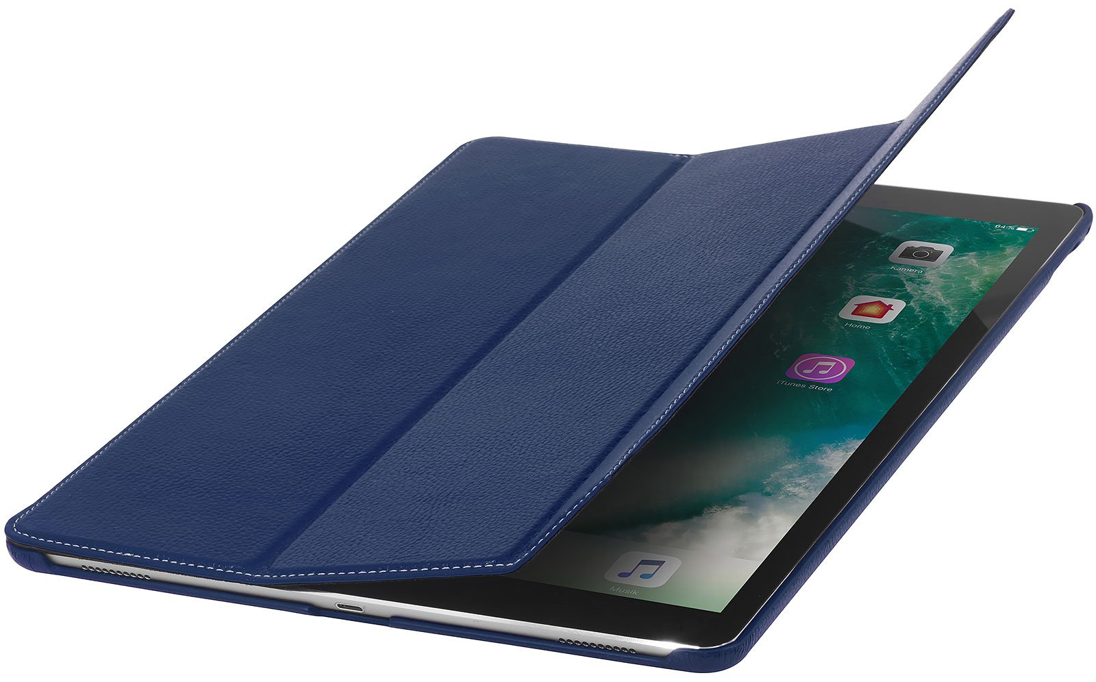 StilGut Couverture, Case for Apple iPad Pro 12.9'' (2017 and Previous Editions), Genuine Leather Case with Folded Cover Design, Stand Function & Smart-Cover (Auto Sleep, Wake-up), Navy Blue